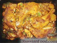 Фото к рецепту: Куриные окорочка в духовке с картошкой