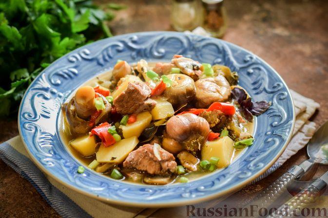 Фото к рецепту: Мясное рагу с грибами, баклажанами, картофелем и сладким перцем