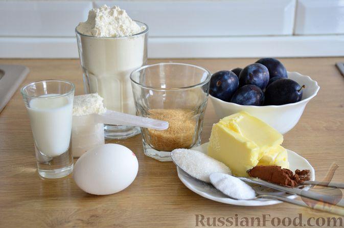 Фото приготовления рецепта: Пирог на кефире, со сливами в шоколадной карамели - шаг №1