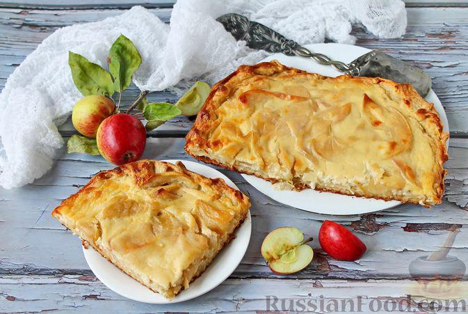 Фото к рецепту: Пирог из слоёного теста, с яблоками и корицей