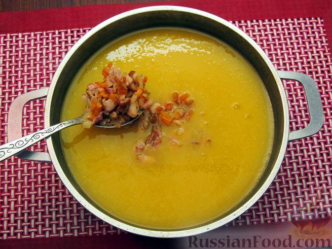 Фото приготовления рецепта: Тыквенный суп-пюре с копчёной курицей - шаг №10