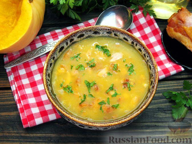 Фото к рецепту: Тыквенный суп-пюре с копчёной курицей