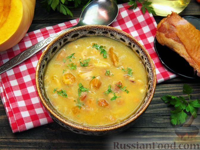 Фото приготовления рецепта: Тыквенный суп-пюре с копчёной курицей - шаг №12