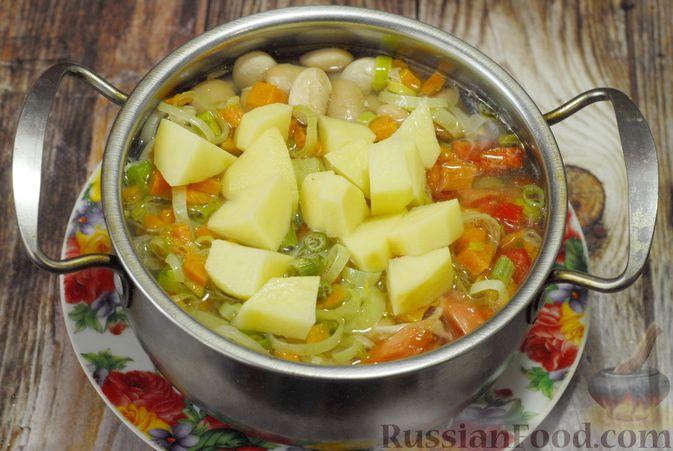Фото приготовления рецепта: Суп с консервированной фасолью, капустой, помидорами и сельдереем - шаг №9