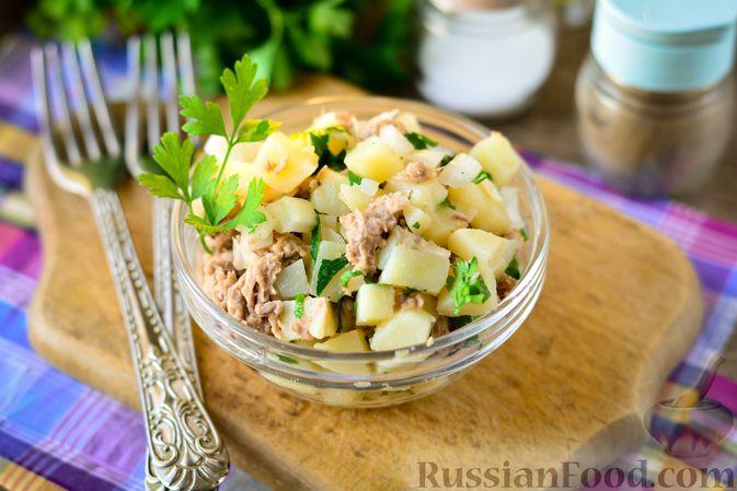 Фото к рецепту: Рыбный салат с картофелем и луком