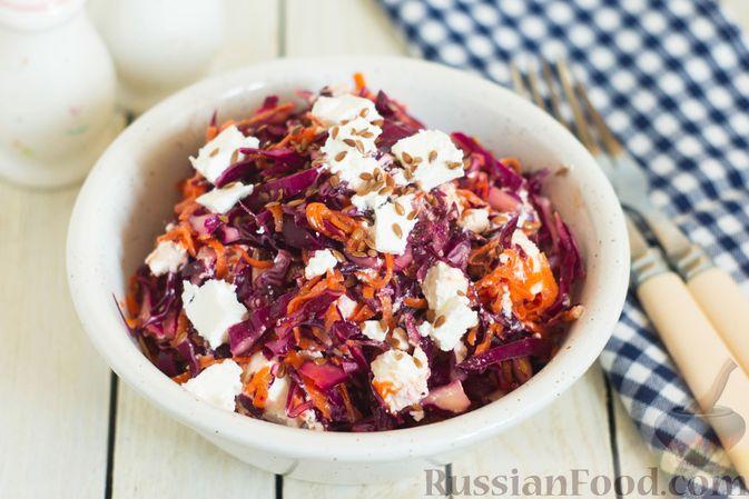 Фото к рецепту: Салат из краснокочанной капусты с морковью, сыром фета и семенами льна