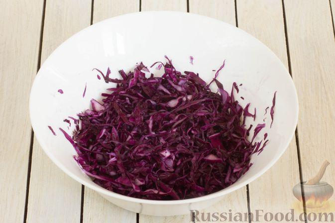 Фото приготовления рецепта: Салат из краснокочанной капусты с морковью, сыром фета и семенами льна - шаг №2