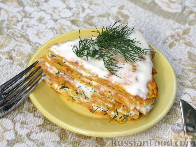 Фото приготовления рецепта: Закусочный тыквенный торт с соусом из майонеза, чеснока и укропа - шаг №13
