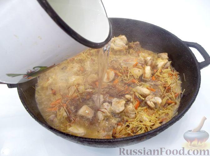 Фото приготовления рецепта: Кролик с вермишелью и морковью (на сковороде) - шаг №14