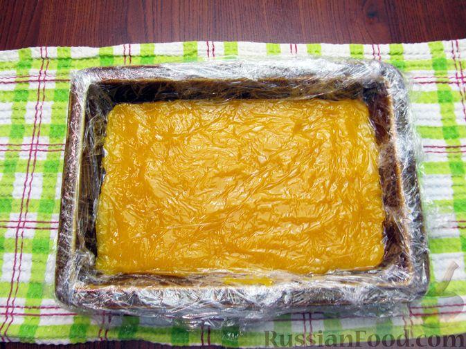 Фото приготовления рецепта: Тыквенный рахат-лукум с апельсиновым соком, цедрой и кокосовой стружкой - шаг №12