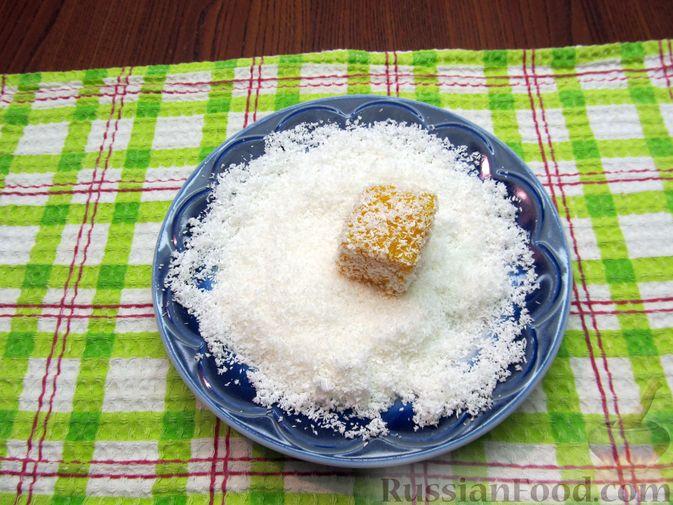 Фото приготовления рецепта: Тыквенный рахат-лукум с апельсиновым соком, цедрой и кокосовой стружкой - шаг №15