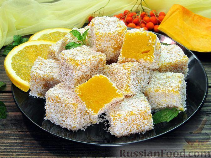 Фото приготовления рецепта: Тыквенный рахат-лукум с апельсиновым соком, цедрой и кокосовой стружкой - шаг №16