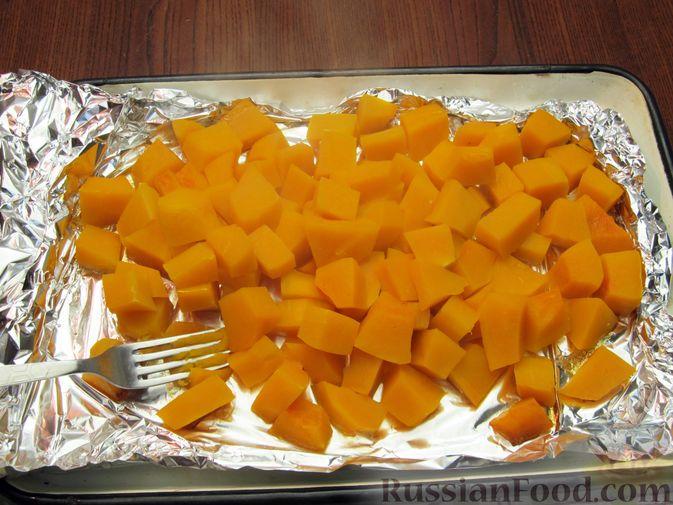 Фото приготовления рецепта: Тыквенный рахат-лукум с апельсиновым соком, цедрой и кокосовой стружкой - шаг №4