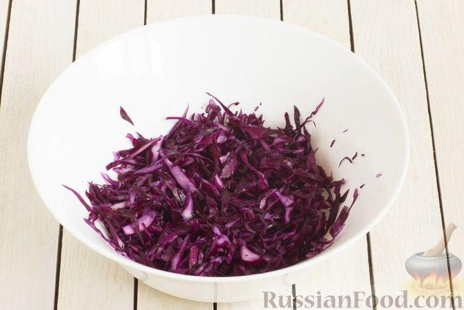 Фото приготовления рецепта: Салат из краснокочанной капусты с морковью, яблоком и изюмом - шаг №2