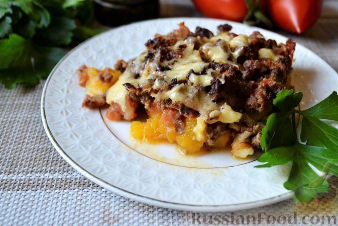 Фото приготовления рецепта: Запеканка из тыквы с мясным фаршем и помидорами - шаг №16