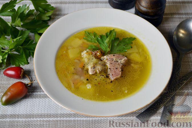 Фото к рецепту: Куриный суп с тыквой и булгуром