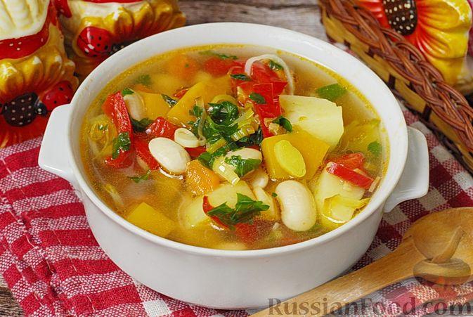 Фото к рецепту: Овощной суп с фасолью и тыквой