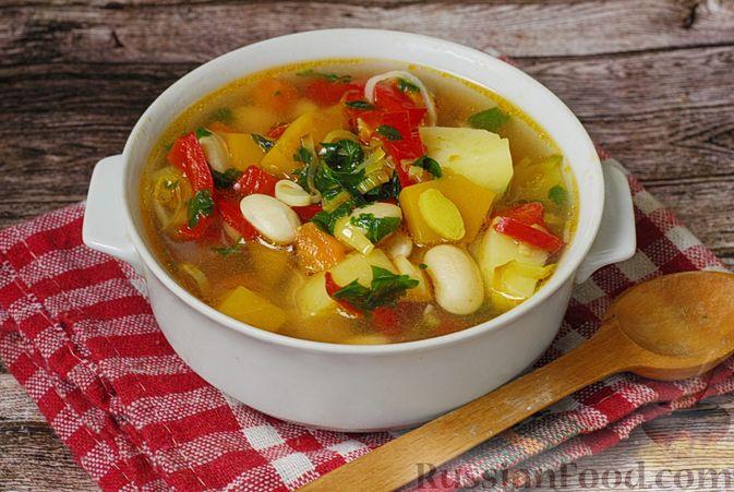 Фото приготовления рецепта: Овощной суп с фасолью и тыквой - шаг №14