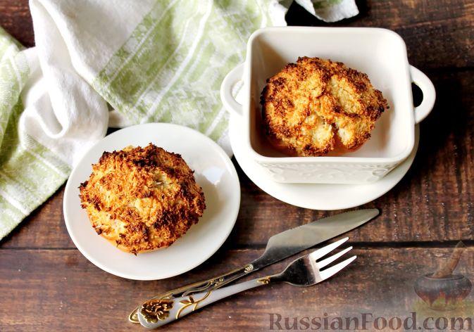 Фото к рецепту: Айва, запечённая с творогом, кокосовой стружкой и миндалём
