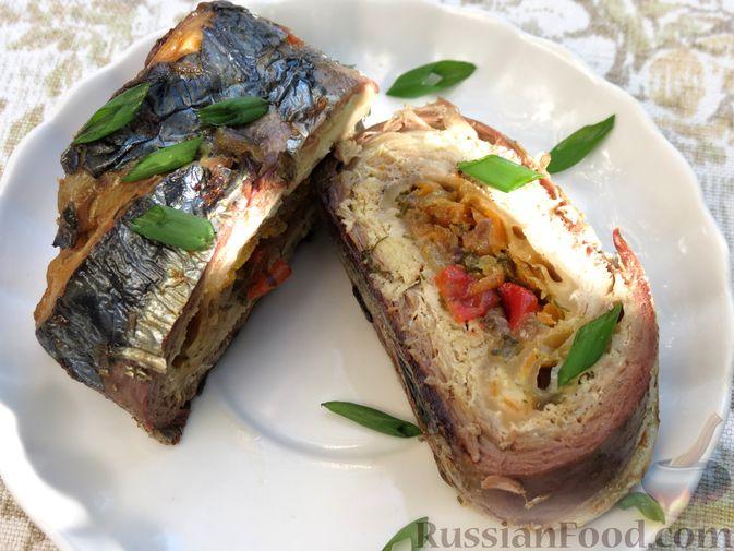 Фото приготовления рецепта: Рулеты из скумбрии с болгарским перцем, морковью и сыром - шаг №20