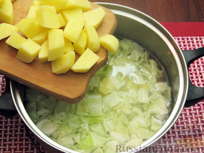 Фото приготовления рецепта: Куриный суп с капустой и томатной пастой - шаг №9