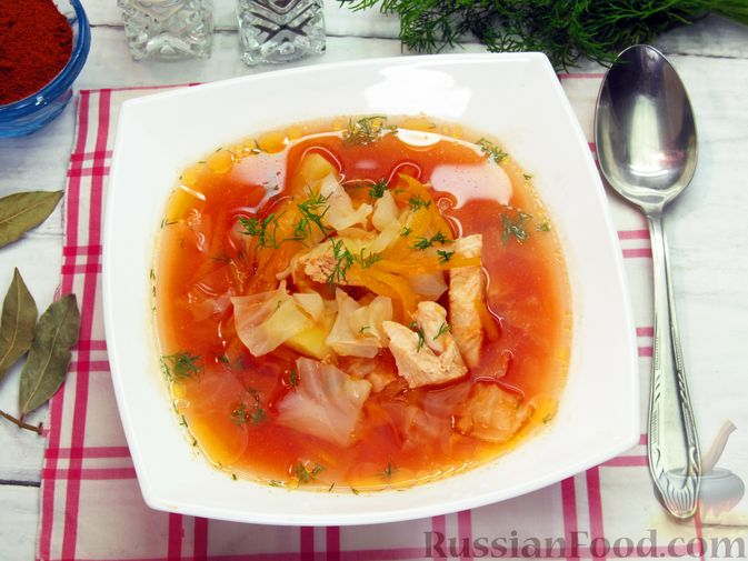 Фото приготовления рецепта: Куриный суп с капустой и томатной пастой - шаг №16