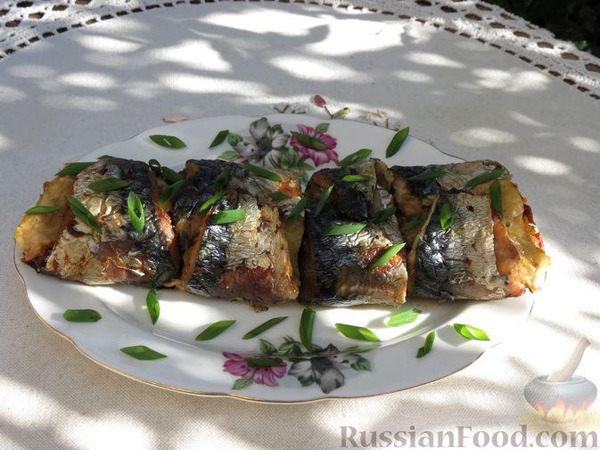 Фото приготовления рецепта: Рулеты из скумбрии с болгарским перцем, морковью и сыром - шаг №21