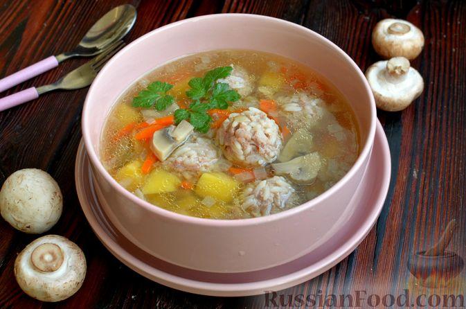 Фото приготовления рецепта: Суп с фрикадельками и шампиньонами - шаг №15