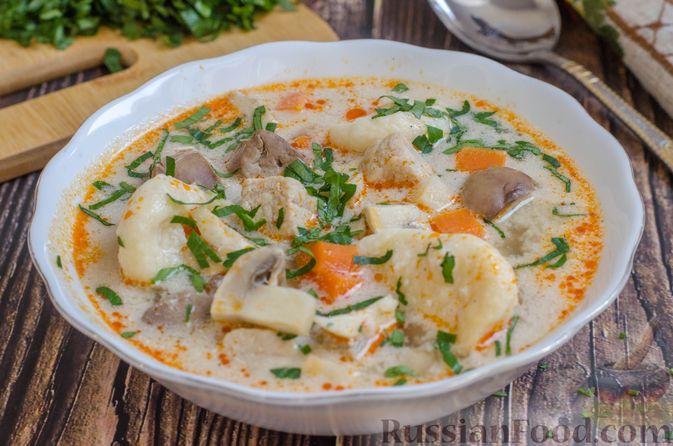 Фото к рецепту: Суп со свининой, куриной печенью и грибами