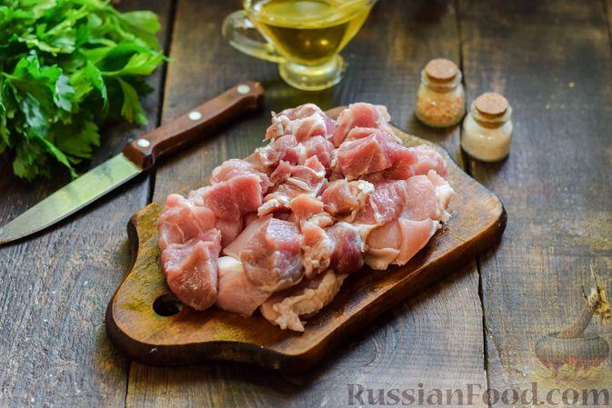 Фото приготовления рецепта: Суп с жареной свининой и помидорами - шаг №3
