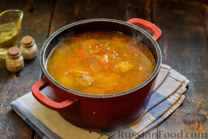 Фото приготовления рецепта: Суп с жареной свининой и помидорами - шаг №13