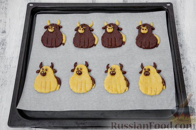 """Фото приготовления рецепта: Двухцветное песочное печенье """"Бычки"""" - шаг №18"""