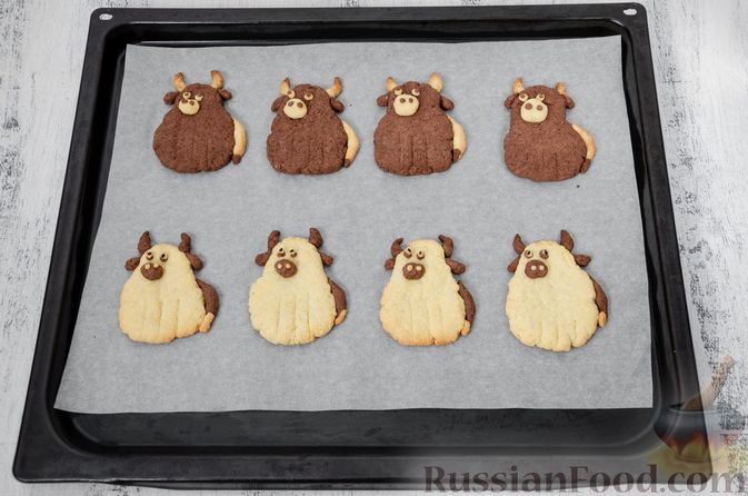 """Фото приготовления рецепта: Двухцветное песочное печенье """"Бычки"""" - шаг №19"""