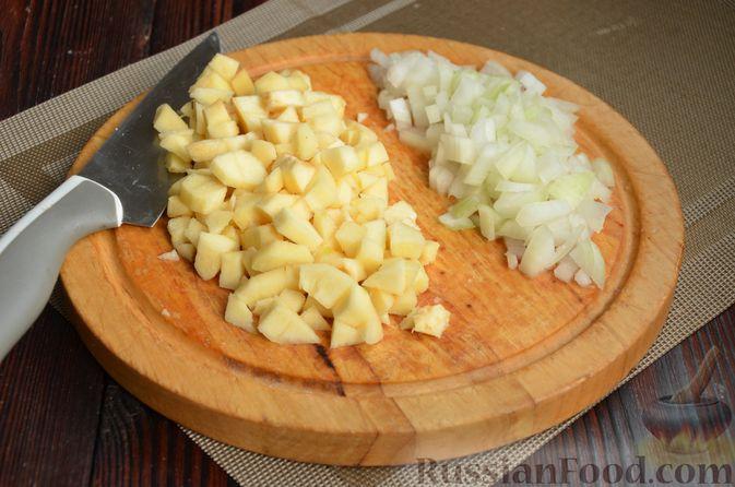 Фото приготовления рецепта: Рулет из лаваша с куриным филе, айвой и сыром (в духовке) - шаг №3