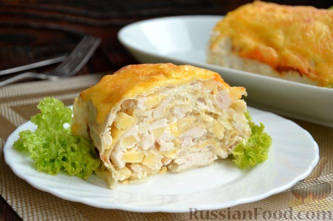 Фото приготовления рецепта: Рулет из лаваша с куриным филе, айвой и сыром (в духовке) - шаг №12