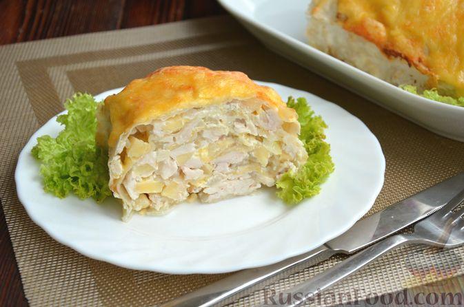 Фото приготовления рецепта: Рулет из лаваша с куриным филе, айвой и сыром (в духовке) - шаг №13