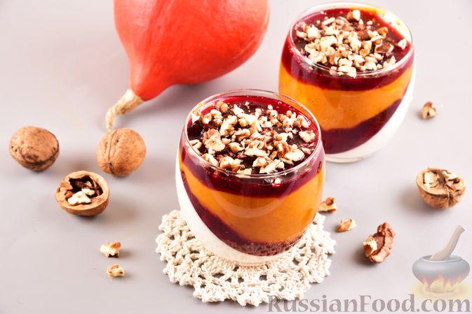 Фото к рецепту: Тыквенно-сливочный десерт с джемом и орехами