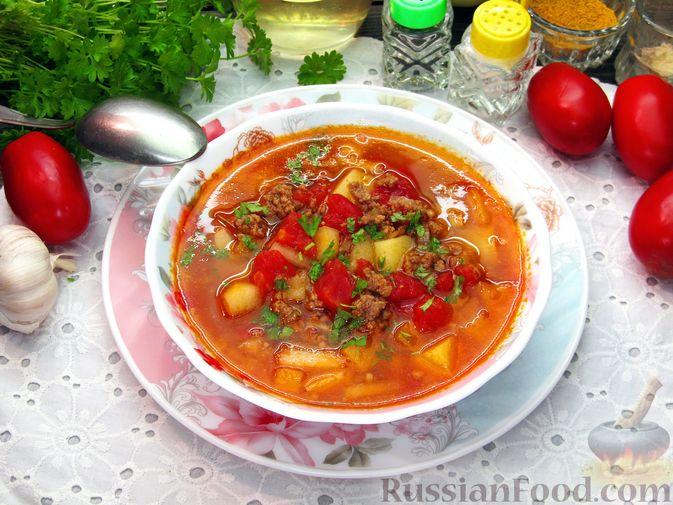 Фото к рецепту: Томатный суп с мясным фаршем и яблоком