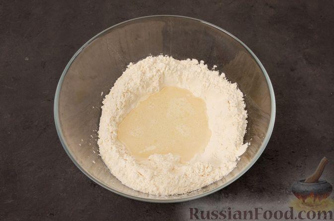 Фото приготовления рецепта: Кутабы с начинкой из творога и зелени - шаг №3