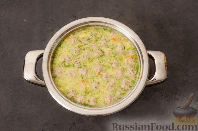 Фото приготовления рецепта: Суп с фрикадельками и яичной заправкой - шаг №14