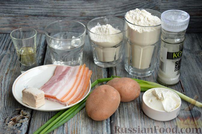 Фото приготовления рецепта: Дрожжевой картофельный хлеб с беконом и зелёным луком - шаг №1