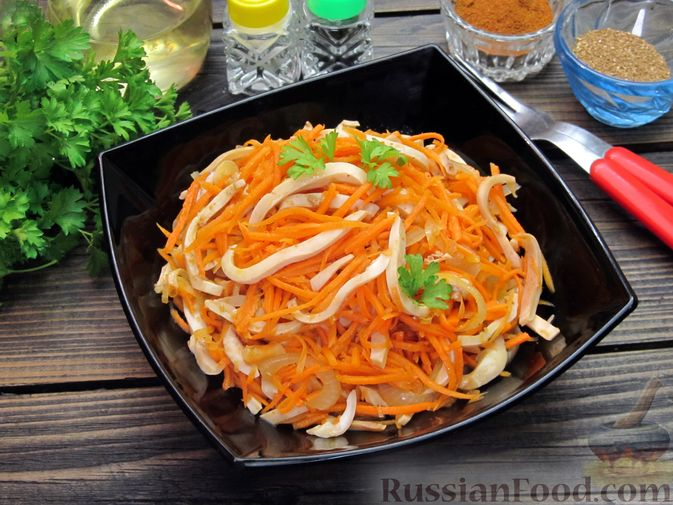 Фото приготовления рецепта: Салат из кальмаров с морковью по-корейски - шаг №16