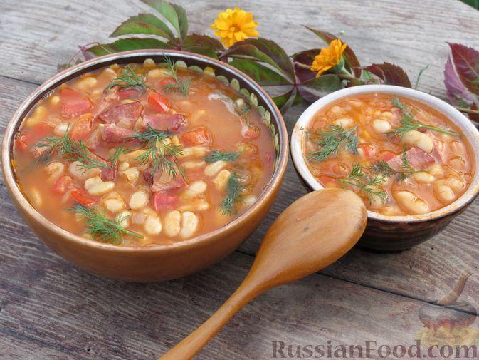 Фото приготовления рецепта: Фасоль с ветчиной, в томатном соусе - шаг №15
