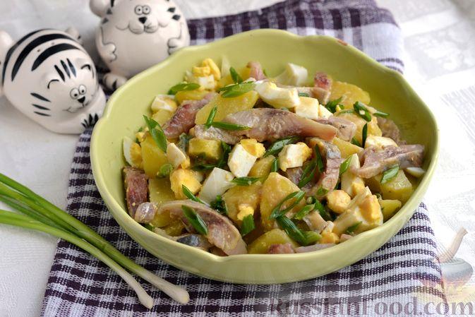 Фото к рецепту: Салат с картофелем, сельдью, яйцами и горчичной заправкой