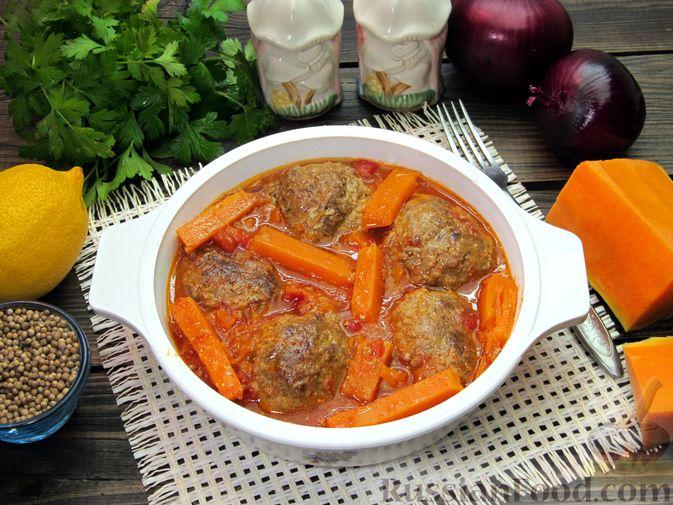 Фото приготовления рецепта: Мясные тефтели в томатно-тыквенным соусе - шаг №27