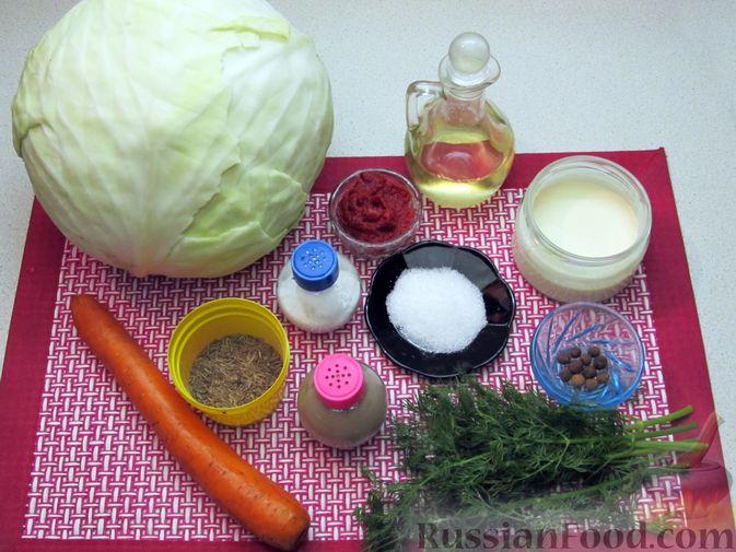 Фото приготовления рецепта: Тушёная капуста со сметанно-томатной заправкой - шаг №1
