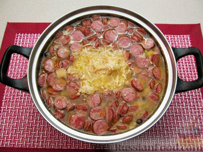 Фото приготовления рецепта: Суп с копченостями, корнем сельдерея и сметаной - шаг №17