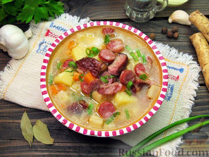Фото приготовления рецепта: Суп с копчёностями, корнем сельдерея и сметаной - шаг №20