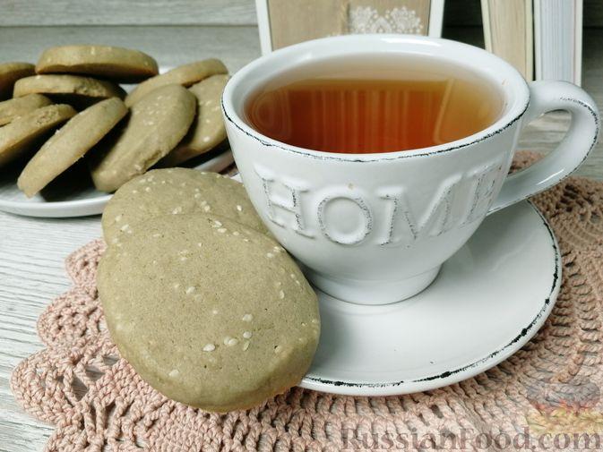 Фото к рецепту: Кунжутное печенье с зелёным чаем