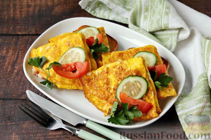 Фото к рецепту: Бутерброды с яичными блинчиками, ветчиной и сыром